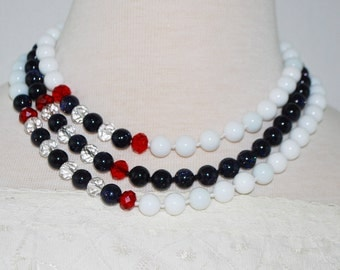Multi strands white jade with galaxy blue and crystal ascent beaded women's necklace