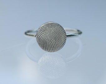 Fingerprint Ring Silver/Personalized Jewellery/Valentine