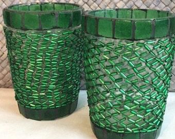 Green Beaded Glass tea light holders set/2