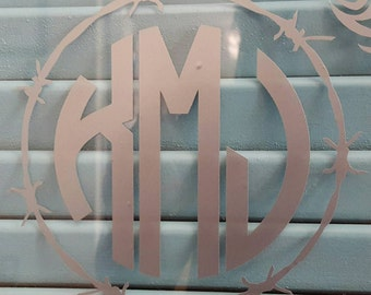 Barbed wire monogram decal