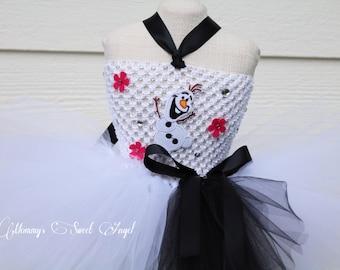 Snowman tutu dress, Comes w/ matching bow. Olaf tutu dress. Baby girls Halloween costume. First Birthday tutu. Halloween tutu dress