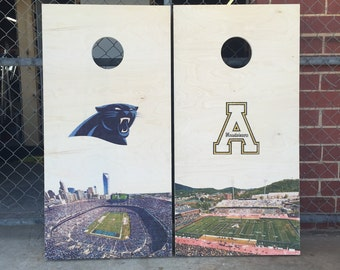Custom Cornhole Boards - Custom Design Panthers Appalachian - Tailgate Lawn Game - Handmade Wood Print