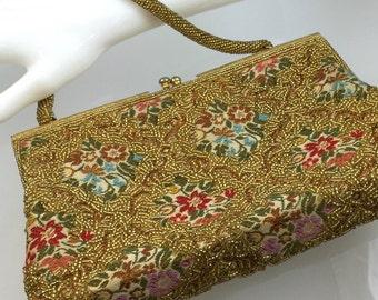 Hong Kong Gold Beaded Petit Point Tapestry Purse - Vintage 1950s Made in Hong Kong Evening Bag
