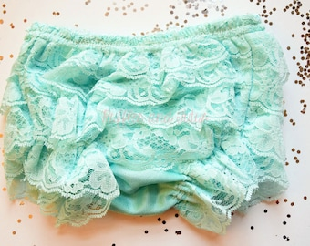 Mint Front and Back Lace Ruffle Bloomer Diaper Cover with Lace Ruffles All Around, Baby Toddler Ruffled Bloomer by Ruffles and Tutus