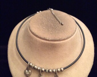Vintage Black Corded Hearts Charm Collar Necklace