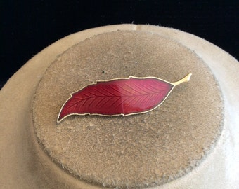 Vintage Red Enameled Leaf Pin