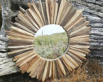 Round rustic driftwood mirror 22""