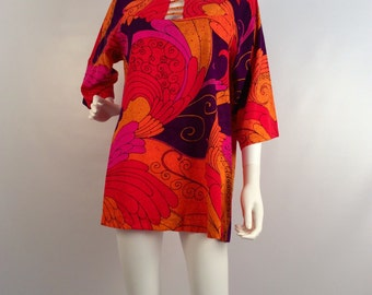 Vintage mini dress, 60's mini, orange and purple multi mini, cover up, vintage tunic, printed mini,