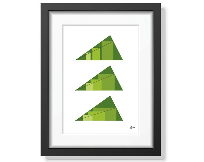 Rectangles in Triangles 09 [mathematical abstract art print, unframed] A4/A3 sizes