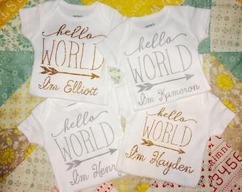 """Newborn Personalized Onesie """"Hello World"""""""