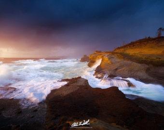 Luminous Eruption, cape kiwanda, sunset, seascape, wall art, landscape, photography, photo, nature, photo, print,