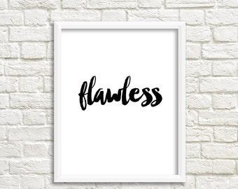 Beyonce poster, Beyonce prints,  Beyonce quote, Beyonce wall art flawless poster 4x5 8x10 16x20