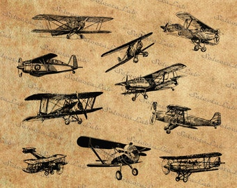 Digital SVG PNG vintage airplanes, plane,aircraft, vector, clipart, silhouette, instant download