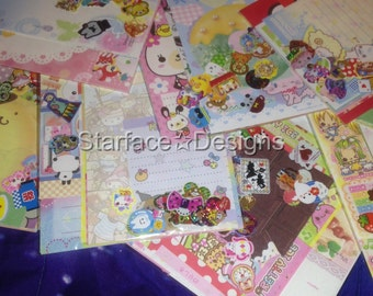 30+ Pcs Kawaii Stationery & Sticker Grab Bag Lg Memo Sheets Die Cut Letter Set Sticker Flakes + FREE GIFT!
