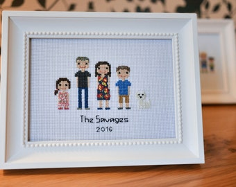 4 person (plus pets) Family Cross-stitch embroidered Portrait  (framed)