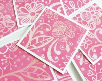 Floral Fuchsia Mini Cards with Envelopes, Handmade Note Cards, Square Cards, Love Note, Gift Card, Blank Cards, 3x3 Cards