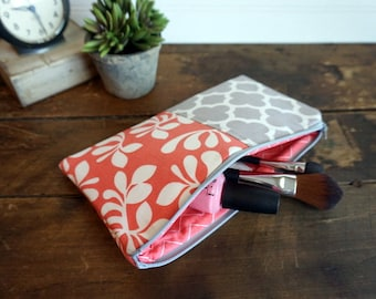 Make-up or Pencil Bag, Coral and Grey Leaves and Quatrefoil, Long Rectangle Make Up Bag
