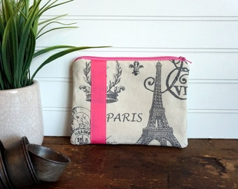 Medium Flat Make Up Bag, Zipper Pouch, Travel Bag, Natural Paris Eiffel Tower with Pink Ribbon