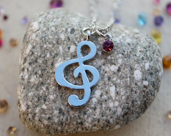 Musical Treble Clef Necklace || Customizable with Birthstone || Music Lover Gift || Musician || Gift for Her || Christmas Gift