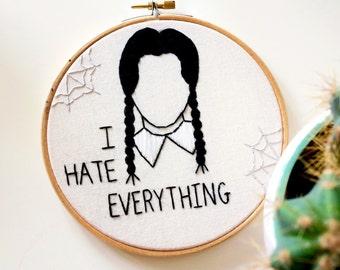 Wednesday Addams embroidery hoop