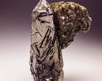Smoky Quartz with Black Tourmaline & Muscovite Crystal Specimen, Erongo Namibia