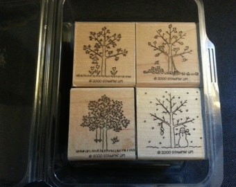 "2000 Stampin' Up! Seasons Set of Stamps Spring/Summer/Fall/Winter 1-1/2"" x 1-3/4"""
