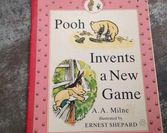 "Vintage Children's Book ""Pooh Invents a New Game"" A.A. Milne Ernest Shepard Pooh & Piglet #7 Paperback 1990"