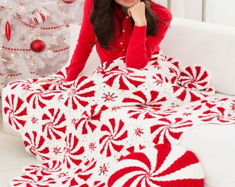 Red & white Afghan Throw