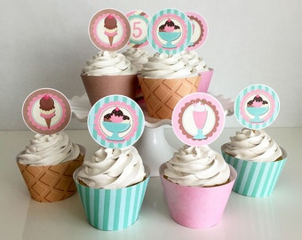 Cupcake Toppers & Wrappers - Ice Cream Shoppe Party - Edit Yourself - Ice Cream Party - Ice Cream Social - Instant Download