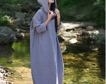 Women autumn loose tunic dress linen hooded linen jacket linen maxi dress long coat dress plus size clothing kaftan linen dress
