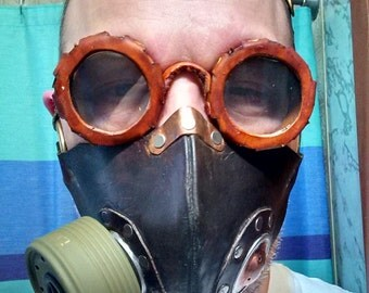Steampunk Gas Mask and Goggle Combo