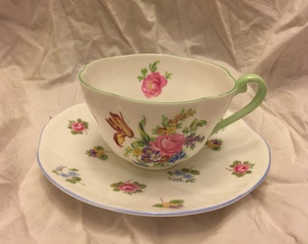 Shelly Cup and saucer w/ pink blue purple flowers Very nice
