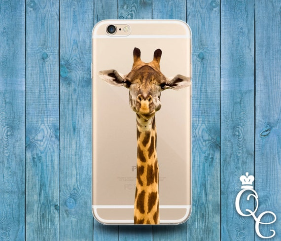 iPhone 4 4s 5 5s 5c SE 6 6s 7 plus iPod Touch 4th 5th 6th Generation Clear Cover Custom Giraffe Head African Animal Africa Hipster Cute Case