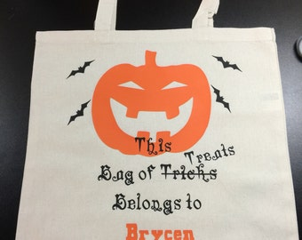 Hallowen Trick Or Treat Bag Personalize with Child's  name!