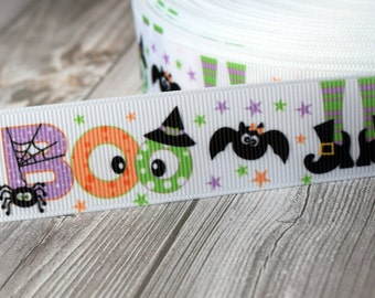"1"" Halloween ribbon - 3 or 5 yards - Boo ribbon - Witches feet ribbon - Bats and spiders - DIY halloween bow - Purple orange black"