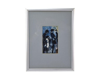 Vintage Mid-Century Modern Encaustic Painting Tall Abstract Figures
