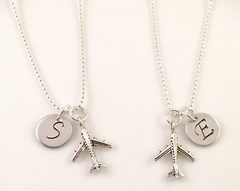 Best Friend Necklace, Airplane necklace, Airplane silver charm, stewardess gift,  flight attendant gift