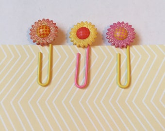 Small Flower Paperclip Bookmarks / Set of 3