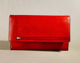 Vintage Red Igor Style Leather Bag, Handbag, Clutch, Evening Bag, Clutch Bag