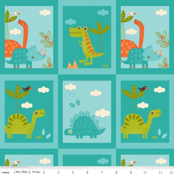 Riley blake dinosaur patch blue cotton fabric panel for Kids dinosaur fabric