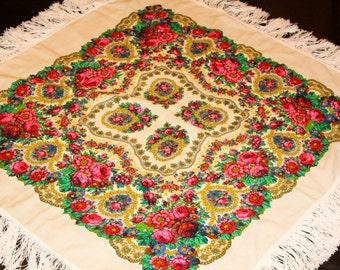 Fringe Shawl Russian Wool Shawl Floral Pattern Scarf Ivory Wedding Shawl Gypsy Shawl Bohemian Shawl Belly Dance Vintage Style Shawl