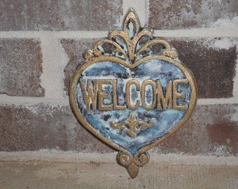 Cast Iron Heart/Cast Iron Wall Decor/Heart WELCOME sign/Home Decor Cast Iron/Shabby Chic Art Decor