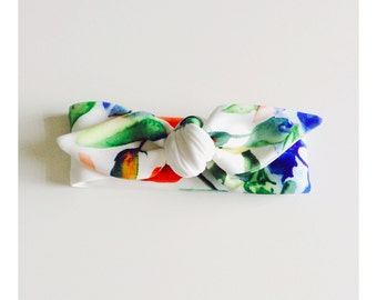 Watercolour Floral topknot headband, baby, toddler, kids, bow headband, kids accessories, hair accessories