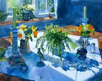 Watercolor Flowers, Original Watercolor Painting, Watercolor Flower Painting, 16 x 23 inch Original Painting, Daffodil Painting