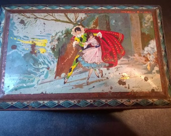 Vintage Decorative Tin Box with Mirror