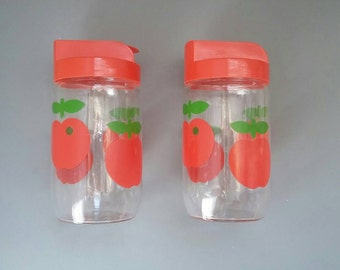 Set of Two Retro Containers with Cherries '70