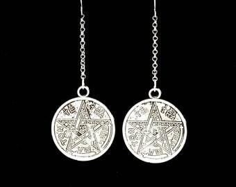 ESOTERIC PENTAGRAM, tetragrammaton, occult symbols, gothic earrings, satanic jewelry, protection sheild, witchy, masonic, defensa, Hebrew