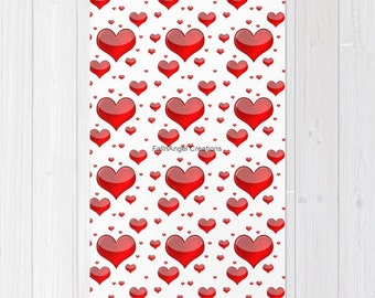 Red Hearts Accent Rug, 3 Sizes Available!