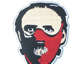 Dr Hannibal Lecter Mask Patch Embroidered Iron on Badge Horror Movie Silence of the Lambs Red Dragon Applique Costume Anthony Hopkins