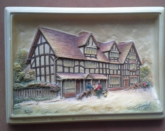 Vintage Hand Painted Bossons Ivorex 3D Wall Plaque of Shakespeare's Birthplace